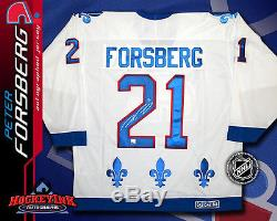 PETER FORSBERG Signed Quebec Nordiques White CCM Jersey Colorado Avalanche