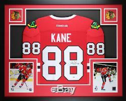 Patrick Kane Framed and Autographed Red Blackhawks Jersey Auto PSA COA (D4-L)