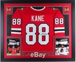 Patrick Kane Signed Blackhawks 35x43 Custom Framed Jersey JSA COA Auto