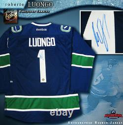 ROBERTO LUONGO Vancouver Canucks Signed Blue Reebok Jersey
