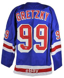 Rangers Wayne Gretzky Authentic Signed Blue Jersey Autographed PSA/DNA #AA03909
