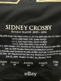 SIDNEY CROSBY PITTSBURGH PENGUINS AUTOGRAPHED Rookie Season Stat Jersey LTD 187