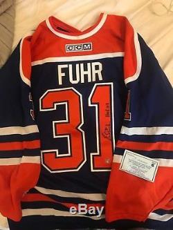 Signed Frozen Pond COA Grant Fuhr Edmonton Oilers Autograph Jersey Perfect