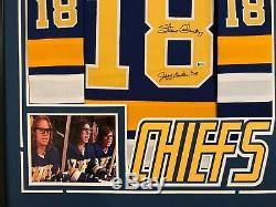 Slap Shot Hanson Brothers Autographed Custom Framed CHIEFS Jersey Beckett COA