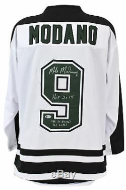 Stars Mike Modano Stat Signed White Jersey with Black Shoulders BAS Witnessed