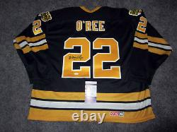 WILLIE O'REE Boston Bruins SIGNED Autographed Vintage JERSEY with BAS COA L HOF