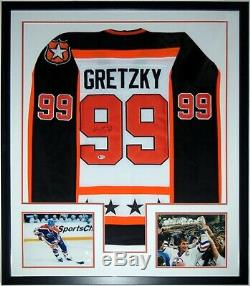 Wayne Gretzky Autographed Oilers All Star Jersey Beckett Bas Coa Framed Photo