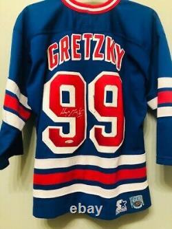 Wayne Gretzky Signed New York Rangers (Home Blue) Jersey UDA Upper Deck DAMAGE