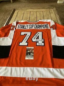 1974 / Champions Coupe Stanley Autographié Chandail Autographié Jsa Flyers De Philadelphie 74