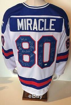 1980 Équipe De Hockey USA Miracle Maillot Signé 20 Auto Jim Craig Mike Eruzione Jsa