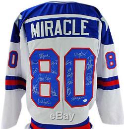 1980 Team USA Hockey (19) Signé Jersey Blanc (craig, Eruzione) Jsa Témoin