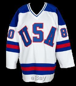 1980 Team USA Miracle Sur L'équipe Ice Chandail Autographié Personnalisée Avec 18 Signatures Jsa Pti