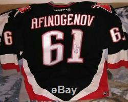 2005-2006 Sabres Buffalo Maxim Afinogenov Chandail Autographié Et LNH Usés Dans Le Jeu