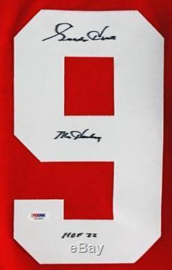 Ailes Rouges Gordie Howe M. Hockey Hof 72 Authentique Maillot Rouge Signé Psa / Adn