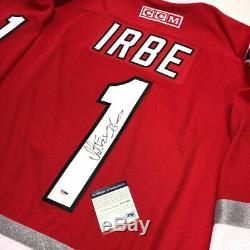 Arturs Irbe 2002 Signé Hurricanes De La Caroline Coupe Stanley CCM Jersey Psa / Adn Coa