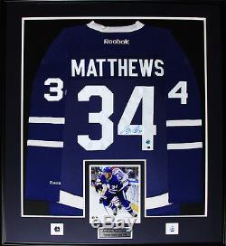 Auston Matthews Cadre Des Maillots Signé Des Maple Leafs De Toronto