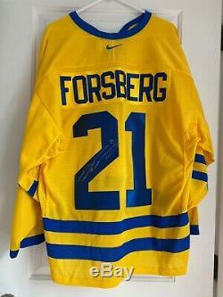 Authentique Peter Forsberg Signé Équipe Suède Jersey