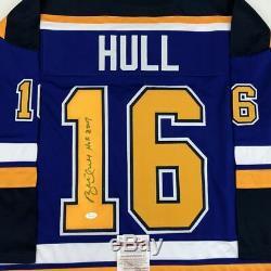 Autographié / Signé Brett Hull Hof Maillot De Hockey Bleu St. Louis 2009 Jsa Coa