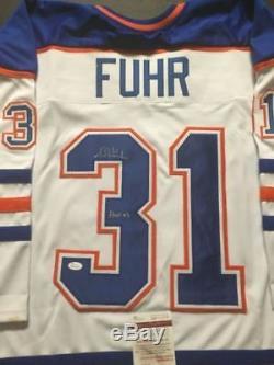 Autographié / Signé Grant Fuhr Hof 03 Jersey De Hockey Blanc Edmonton Jsa Coa Auto
