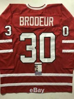 Autographié / Signé Martin Brodeur Marty Équipe Canada Jeux Olympiques Jersey Rouge Jsa Coa