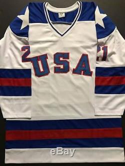 Autographié / Signé Mike Eruzione Maillot De Hockey Blanc Miracle 1980 USA Jsa Coa