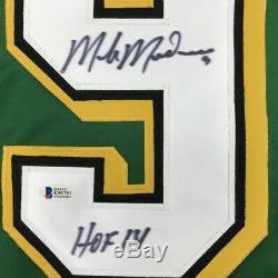 Autographié / Signé Mike Modano Hof 2014 Minnesota Maillot Vert Beckett Bas Coa