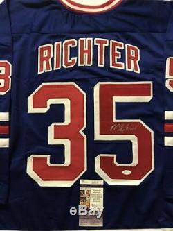 Autographié / Signé Mike Richter Maillot De Hockey Bleu New York Jsa Coa Auto