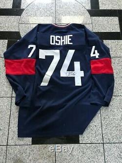 Autographié / Signé Oshie États-unis / Majuscules Bleu Team USA Jersey Mvp Holo
