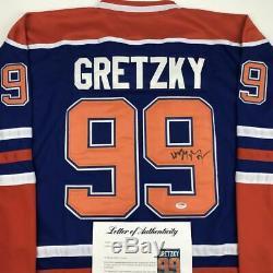 Autographié / Signé Wayne Gretzky Maillot De Hockey Bleu D'edmonton Psa / Dna Coa / Loa