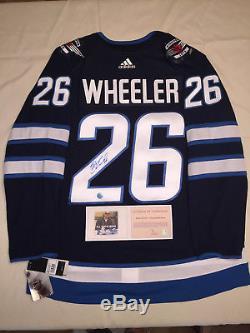 Blake Wheeler, Chandail Des Jets De Winnipeg Autographié Par Adidas Authentic LNH - Bleu