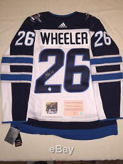 Blake Wheeler Winnipeg Jets Chandail Autographié Authentique Adidas LNH - Blanc