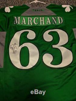 Brad Marchand, Maillot B Du Jour De La Saint-patrick, Autographié Et Signé Par Bruins De Boston