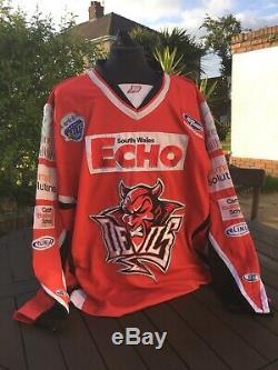 Brad Voth Cardiff Devils Gameworn Jersey 2010-11 Hockey Sur Glace
