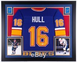 Brett Hull - Maillot Avec Cadre Sur Mesure Signé Blues 35 X 43 (jsa) 741 Buts Dans La LNH