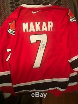 Cale Makar Autograph Maillot De Hockey Du Canada-avalanche-2018 Médaille D'or Du Canada Avecjsa