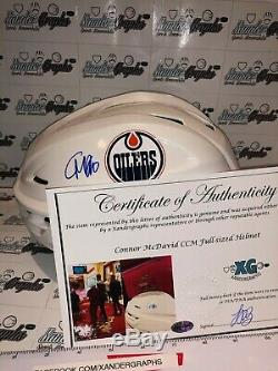 Connor Mcdavid Edmonton Oilers Autographié Signé CCM Jeu Casque-bas Coa