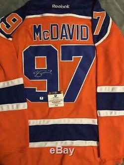 Connor Mcdavid Signé Orange Edmonton Oilers Jersey (coa)