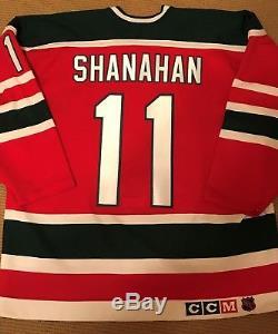 Diables Shanahan Authentique CCM Ultrafil Rouge Vert Xmas Arbre Retro Taille 52 Jersey