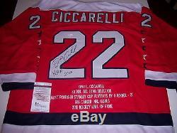 Dino Ciccarelli Capitals De Washington, Hof 2010, Chandail Signé Par Jsa / Coa