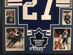 Encadré Darryl Sittler Autographié Signé Insc Toronto Maple Leafs Jersey Jsa Coa