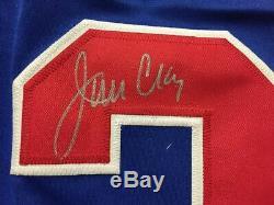 Ensemble Autographié / Signé Jim Craig 33x42 Bleu Maillot De Hockey Américain Jsa Coa Auto