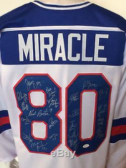 Équipe Américaine De Hockey Miracle De 1980 A Signé Le Maillot 20 Auto Jim Craig Eruzione Jsa