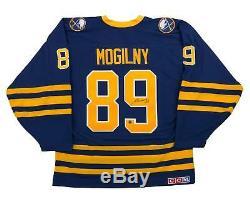 Grand Maillot De Hockey Bleu Signé Alexander Mogilny Buffers Sabres Autographié