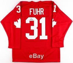 Grant Fuhr Signé Équipe Canada Jersey (jsa Coa)