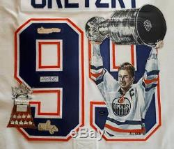 Gretzky + Lord Stanley + Conn Smythe Maillot Oilers Original Signé Triple