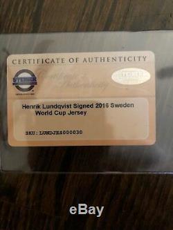 Henrik Lundqvist Dédicacé / Signé Nouvelle Équipe Suede Jersey. (steiner Coa)