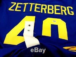 Henrik Zetterberg Maillot D'or Suédois Signé Par L'équipe De Suède, Red Wings De Detroit, Coa