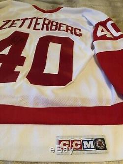 Henrik Zetterberg Signé Autographiés CCM Red Wings De Detroit Jersey Avec Coa