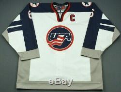 Jack Hughes Jeux Usé USA Hockey Signé Jersey Devils # 1 Recrue De La LNH
