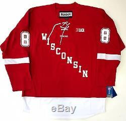 Joe Pavelski Signé Badgers Du Wisconsin Jersey Rouge Insc Psa Coa San Jose Sharks